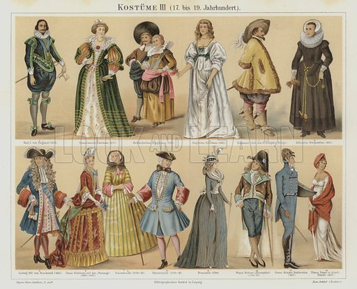 Costumes of the 17th to the 19th Century. Illustration from Meyer's Konversations-Lexicon, c1895.
