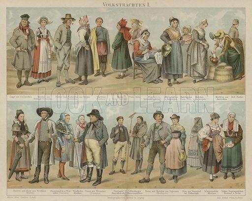 Folk costumes. Illustration from Meyer's Konversations-Lexicon, c1895.