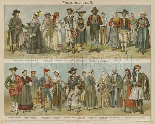 Folk costumes. Illustration from Meyer's Konversations-Lexicon, c1895.