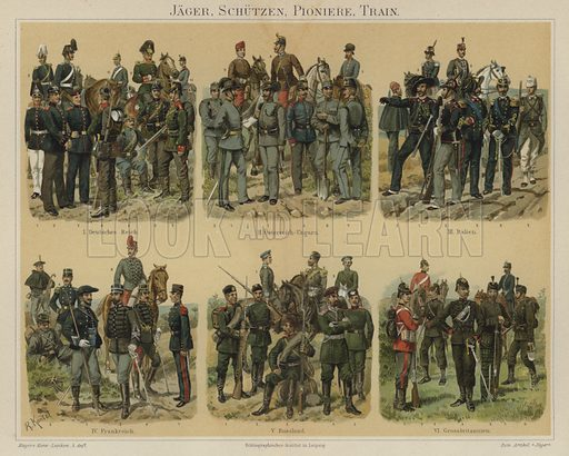 Riflemen, pioneers and supply troops of European armies. Illustration from Meyer's Konversations-Lexicon, c1895.