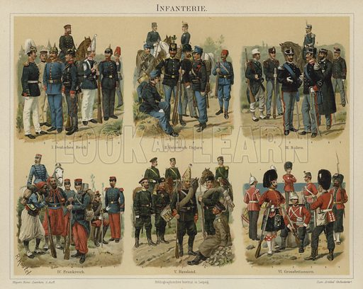 Infantry of European armies. Illustration from Meyer's Konversations-Lexicon, c1895.