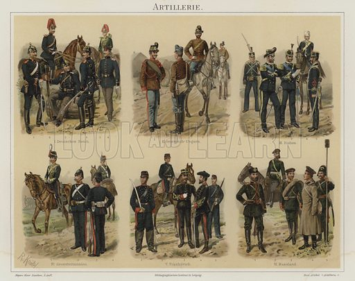 Artillery of European armies. Illustration from Meyer's Konversations-Lexicon, c1895.