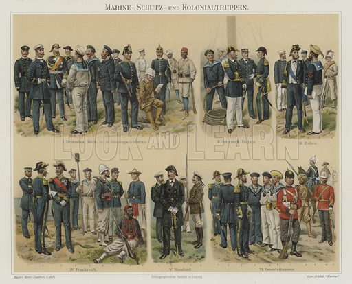 Marines and colonial troops of European armies. Illustration from Meyer's Konversations-Lexicon, c1895.