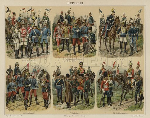 Cavalry of European armies. Illustration from Meyer's Konversations-Lexicon, c1895.