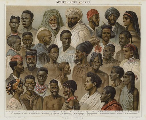 Peoples of Africa. Illustration from Meyer's Konversations-Lexicon, c1895.