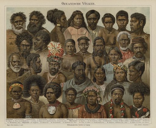 Peoples of Oceania. Illustration from Meyer's Konversations-Lexicon, c1895.