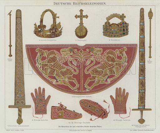 Imperial regalia of the Holy Roman Empire. Illustration from Meyer's Konversations-Lexicon, c1895.