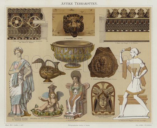 Terracotta antiquities. Illustration from Meyer's Konversations-Lexicon, c1895.