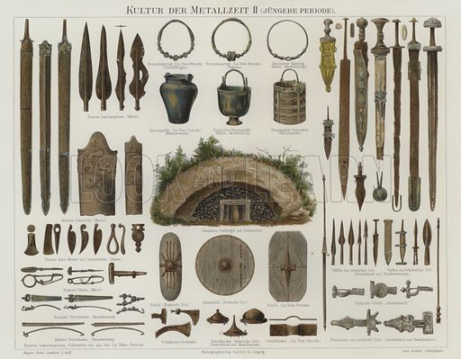 Bronze and Iron Age artefacts. Illustration from Meyer's Konversations-Lexicon, c1895.