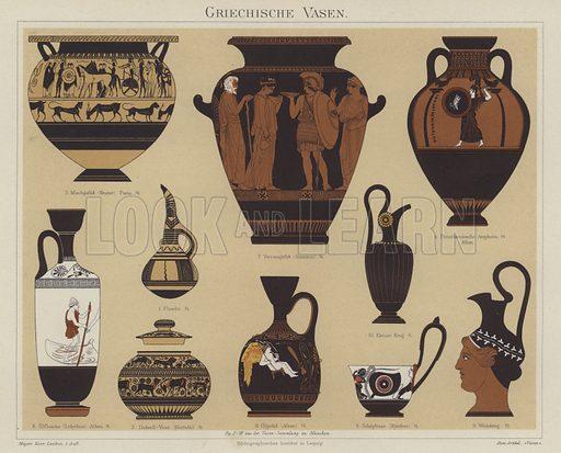 Greek vases. Illustration from Meyer's Konversations-Lexicon, c1895.