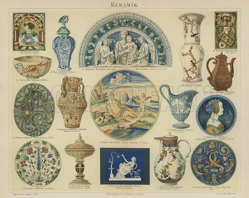 Ceramics. Illustration from Meyer's Konversations-Lexicon, c1895.