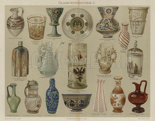 Glassware. Illustration from Meyer's Konversations-Lexicon, c1895.