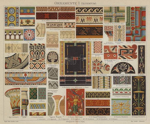 Ancient decorative art. Illustration from Meyer's Konversations-Lexicon, c1895.