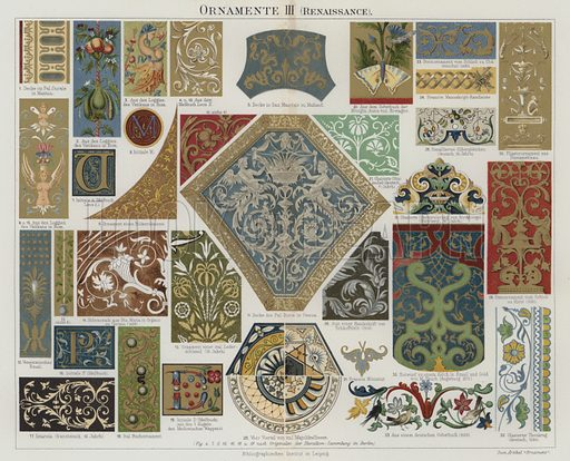 Renaissance decorative art. Illustration from Meyer's Konversations-Lexicon, c1895.
