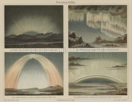 The Northern Lights. Illustration from Meyer's Konversations-Lexicon, c1895.