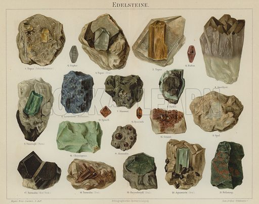 Gemstones. Illustration from Meyer's Konversations-Lexicon, c1895.