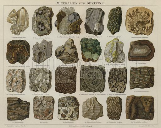Minerals and rocks. Illustration from Meyer's Konversations-Lexicon, c1895.
