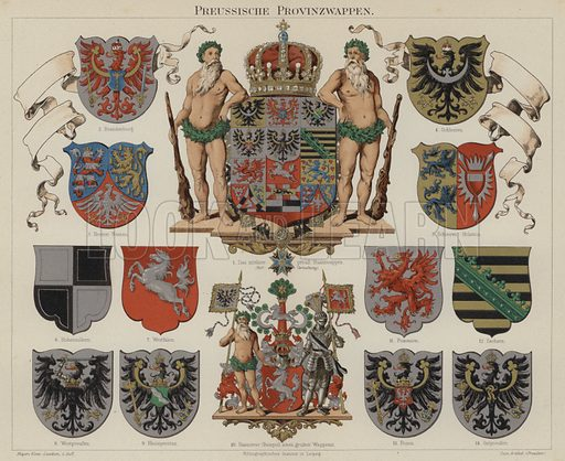 Prussian provincial coats of arms. Illustration from Meyer's Konversations-Lexicon, c1895.