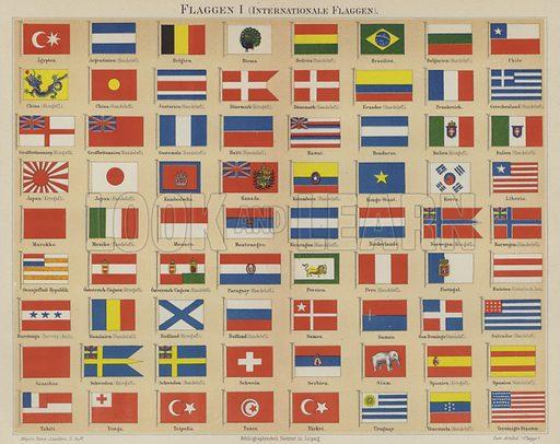 International flags. Illustration from Meyer's Konversations-Lexicon, c1895.