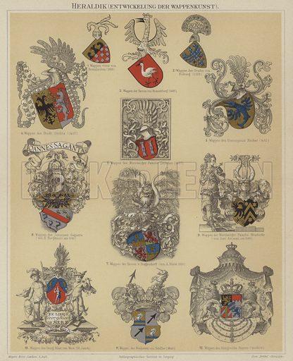 Heraldry. Illustration from Meyer's Konversations-Lexicon, c1895.