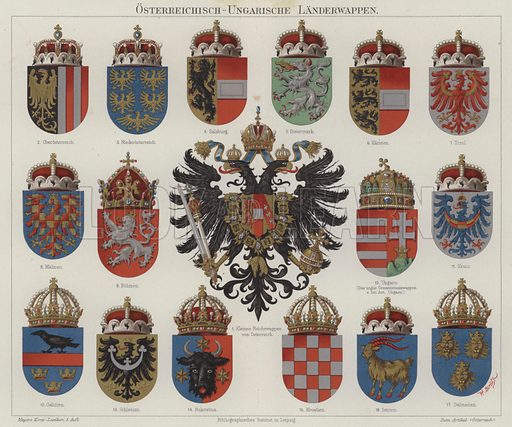 Coats of arms of the Austro-Hungarian Empire. Illustration from Meyer's Konversations-Lexicon, c1895.
