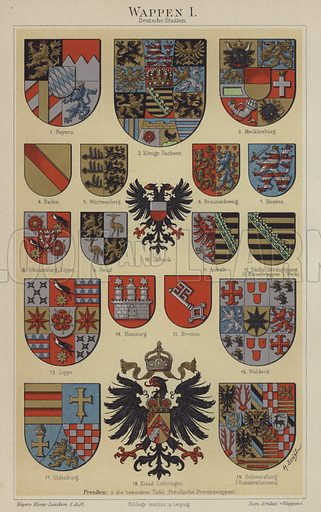 Coats of arms of German states. Illustration from Meyer's Konversations-Lexicon, c1895.