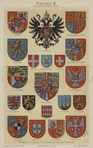 Coats of arms of European countries. Illustration from Meyer's Konversations-Lexicon, c1895.