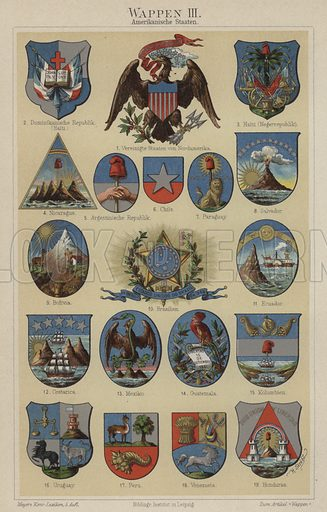 Coats of arms of countries of the Americas. Illustration from Meyer's Konversations-Lexicon, c1895.