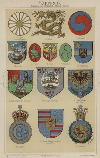 Coats of arms of Hawaii and countries of Asia and Africa. Illustration from Meyer's Konversations-Lexicon, c1895.