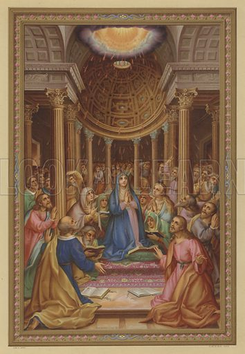 Pentecost. Illustration from Missal Pontifical.