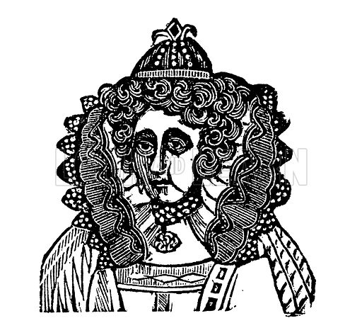 Queen Elizabeth I. Illustration for HIstory of England by Dr Goldsmith et al (JS Pratt, 1843). Note: Image has been digitally enhanced to facilitate repro at large size.