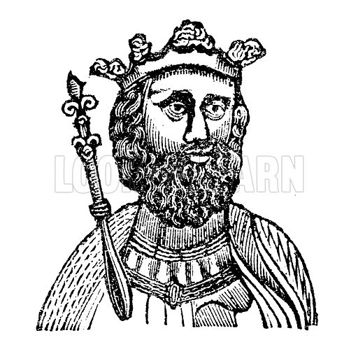 King Edward II, surnamed Caernarvon. Illustration for HIstory of England by Dr Goldsmith et al (JS Pratt, 1843). Note: Image has been digitally enhanced to facilitate repro at large size.