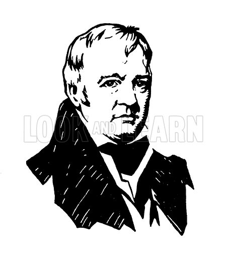 Sir Walter Scott. Illustration for A Day with Scott by May Byron (Hodder and Stoughton, c 1910).