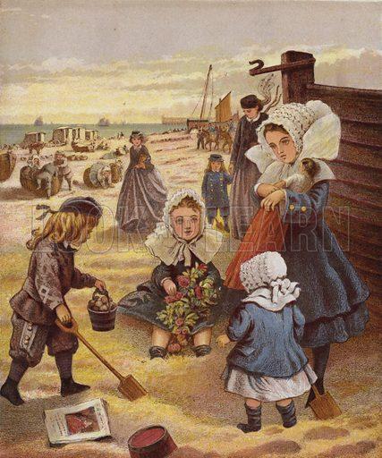 The Seaside. Illustration for Aunt Louisa's Keepsake (Frederick Warne, 1868). Printed in oil by Kronheim and Dalziels.