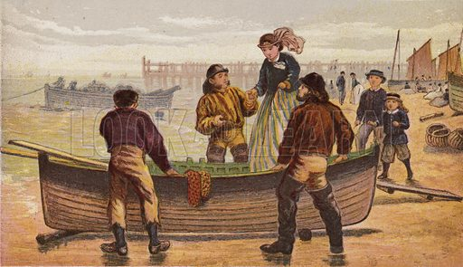 The Seaside. Illustration for Aunt Louisa's Keepsake (Frederick Warne, 1868). Printed in oil by Kronheim and Dalziels.