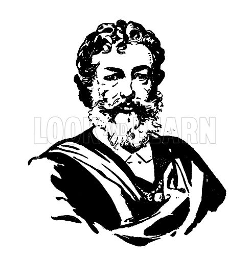 Sir Frederic Leighton. Silhouette illustration appearing in one of a series of small art books published by Jack, c 1910.