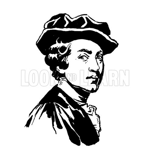 Sir Joshua Reynolds. Silhouette illustration appearing in one of a series of small art books published by Jack, c 1910.