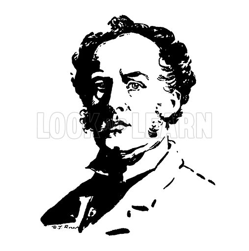 Sir John Everett Millais. Silhouette illustration appearing in one of a series of small art books published by Jack, c 1910. Signed: RT Rose.