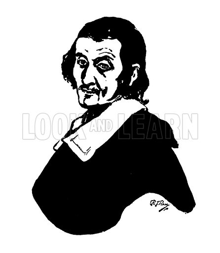 Carlo Dolci. Silhouette illustration appearing in one of a series of small art books published by Jack, c 1910. Signed: RT Rose.