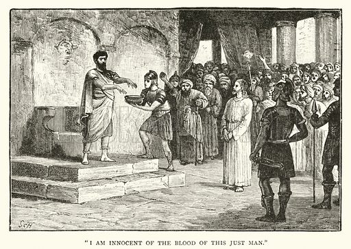 Pontius Pilate washing his hands. Illustration for The Life of Our Lord (Frederick Warne, c 1890).