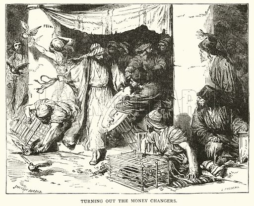 Jesus turning out the money changers from the Temple. Illustration for The Life of Our Lord (Frederick Warne, c 1890).