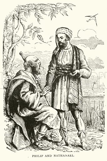 Philip and Nathaniel. Illustration for The Life of Our Lord (Frederick Warne, c 1890).