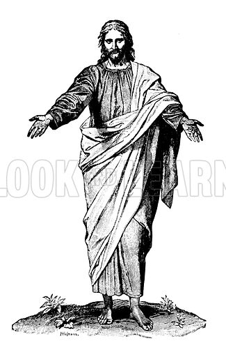 Jesus Christ. Illustration for The Life of Our Lord (Frederick Warne, c 1890). Signed H Holmann. Note: Image has been digitally cleaned to facilitate repro at large size.