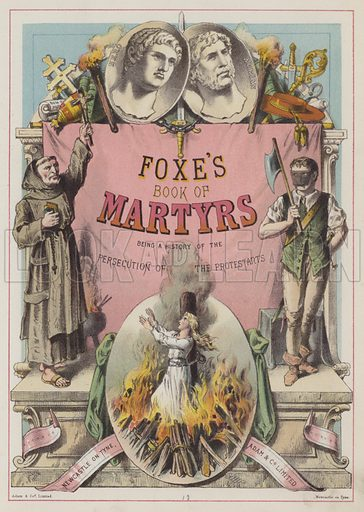 Title-page illustration for Foxe's Book of Martyrs (Adam, c 1870).