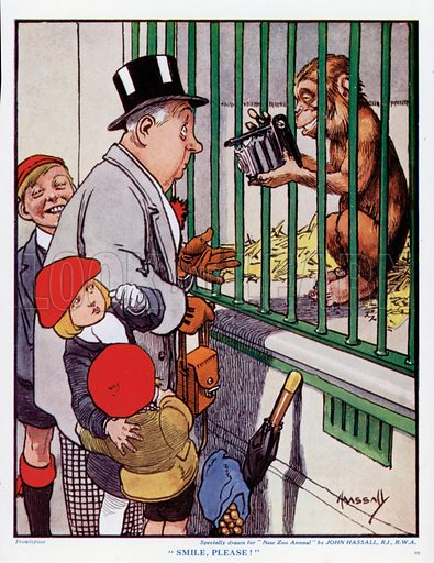 """""""Smile, Please!"""" Cartoon for the New Zoo Annual."""