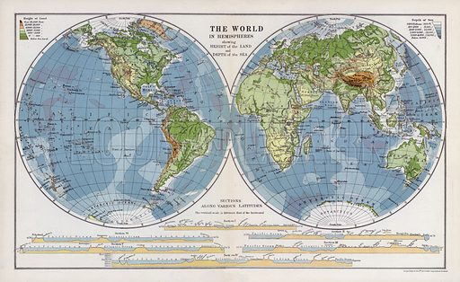 The world in hemispheres showing height of the land and depth of the sea. Illustration for An Atlas of Commercial Geography compiled by Fawcett Allen (Cambridge, 1913).
