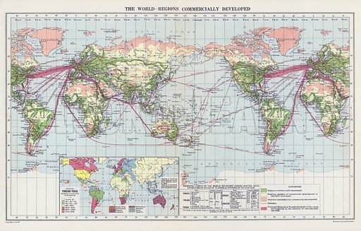 The world, regions commercially developed. Illustration for An Atlas of Commercial Geography compiled by Fawcett Allen (Cambridge, 1913).
