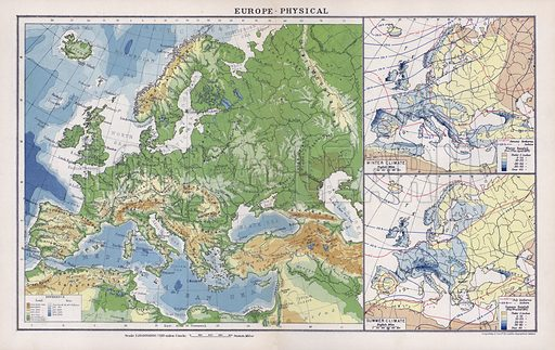 Europe, physical. Illustration for An Atlas of Commercial Geography compiled by Fawcett Allen (Cambridge, 1913).
