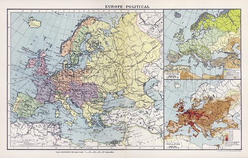 Europe, political. Illustration for An Atlas of Commercial Geography compiled by Fawcett Allen (Cambridge, 1913).
