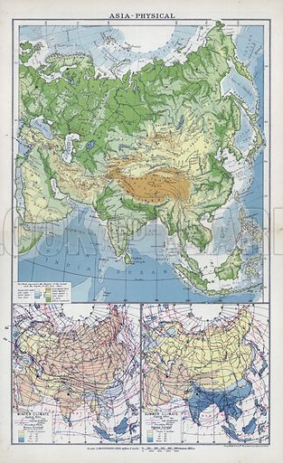 Asia, physical. Illustration for An Atlas of Commercial Geography compiled by Fawcett Allen (Cambridge, 1913).